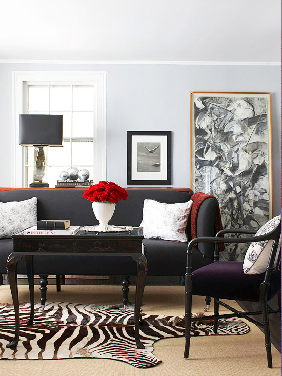 Gray living room decorating better homes and gardens - Black red and grey living room ...