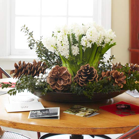 White Hyacinth Holiday Centerpiece