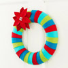 Striped Felt Wreath with Poinsettia Flower