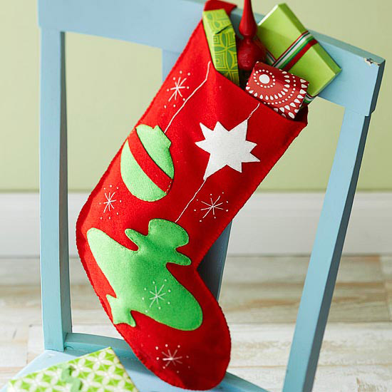 Retro Ornaments Felt Stocking