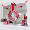 Valentine's Mantel with Red-and-Pink Heart Wreath