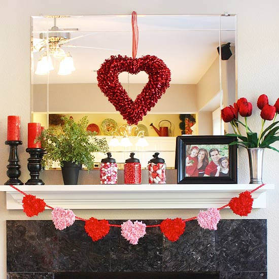 Red-and-Pink Valentine's Mantel