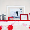 Valentine's Mantel with Red-and-White Accents