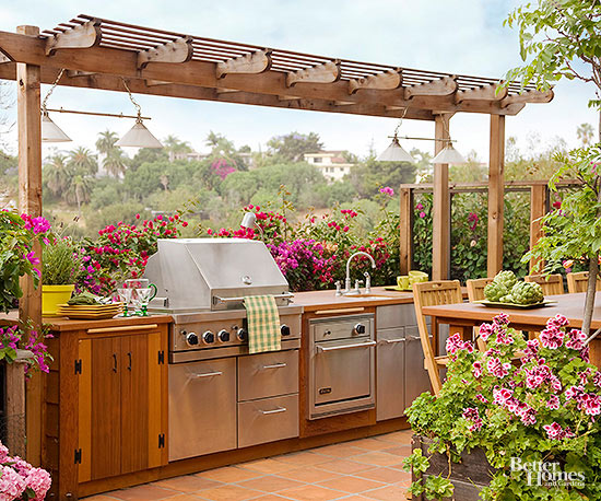 Planning for an outdoor kitchen better homes and gardens for Small kitchen garden plans