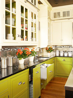 Charming Warm And Lively Green Kitchen Cabinets