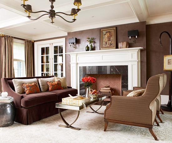 living room ideas with dark brown couches. Use the power of contrast to create high impact between light and dark with  bright white Ways Decorate a Brown Sofa