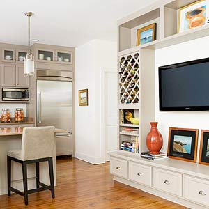Merge A Kitchen And Living Space With Savvy TV Placement This Opens Into Area The Two Spaces Orient Toward Common Wall