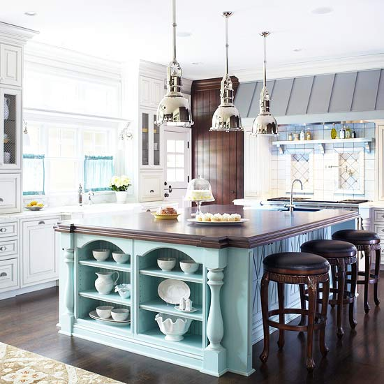 inspiring color design in kitchen makeover with large bar