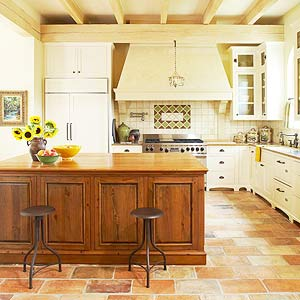 This Spacious Tuscan Kitchen Is A Hot Spot For Entertaining Thanks To A 7x4 Foot Island Plentiful Countertop Space Provides Room To Spread Out When