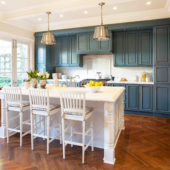 whether breezy cornflower tropical turquoise or a more staid teal medium blue kitchen cabinets make a statement in kitchens large and small - Blue Kitchen Cabinets