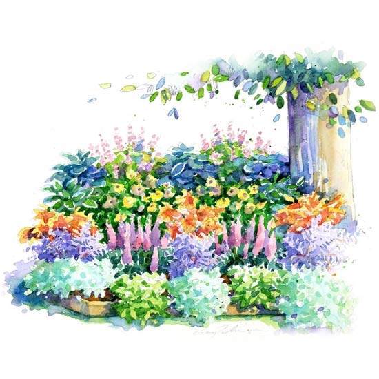 No fuss shade garden plan for Free perennial flower garden designs