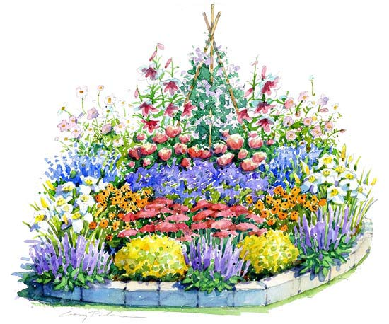 Beautiful sunny summer garden plan for Sunny landscape designs