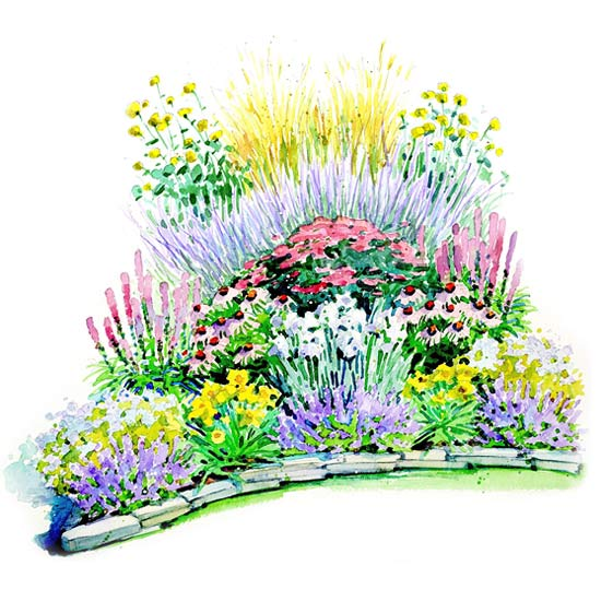 Easy care summer garden plan for Free perennial flower garden designs