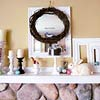 White and Tan Spring Mantel with Easter Eggs