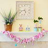 Easter-Inspired Mantel with Fabric Garland
