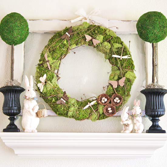 Simple Easter Mantel with Topiaries and Wreath
