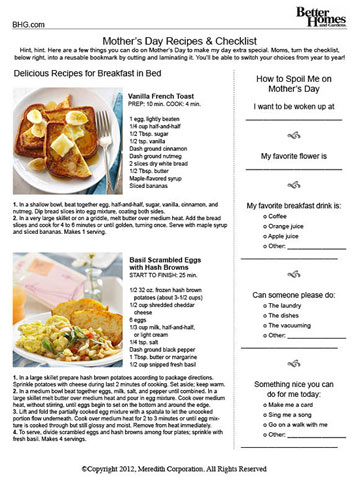 Mother's Day Breakfast Checklist