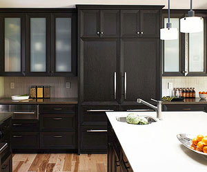 black kitchen cabinets are unexpected and create a modern sophisticated look the rich black stain on these cabinets emphasizes the clean lines - Black Kitchen Cabinets Pictures