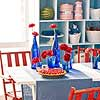 Blue Glassware Centerpiece