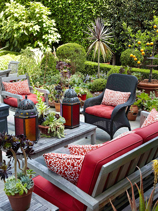 Patio design tips better homes and gardens for Decorate small patio area