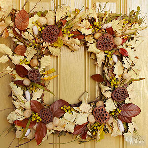 Fall Wreaths Made of Leaves, Flowers, Wheat, and More Natural Elements from Better Homes and Gardens