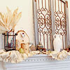 Fall Mantel with Ruffled Burlap Garland