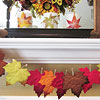 Faux Fall Leaf Garland and Candles
