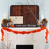 Fall Mantel with Hydrangeas and Ruffled Felt Garland