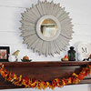 Fall Mantel with Multicolored Leaf Garland