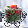 Icy Holly-and-Cranberry Candleholder