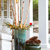 Pinecone and Birch Winter Containers
