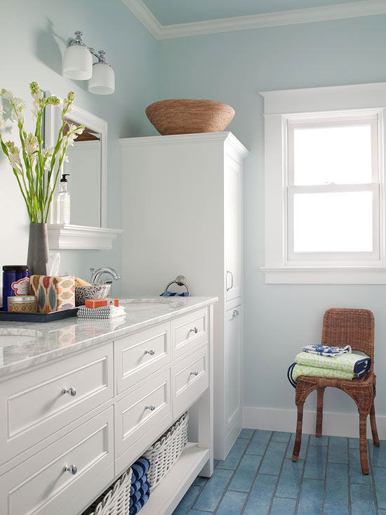 how to paint a small bathroom your trim is also a color in your room whether its painted or stained dont forget to paint swatches of possible colors next to the trim so that you can