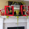 Red and Green Christmas Mantel with Picture Frames