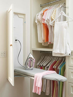 A Recessed Cabinet With An Electrical Outlet Hides A Wall Mount Ironing  Board In This Master Closet, Meaning Thereu0027s No Need To Store A Bulky  Ironing Board ...