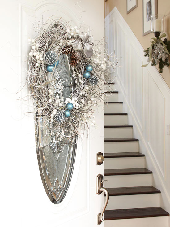 Add Glitter to Your Christmas Door Decorations
