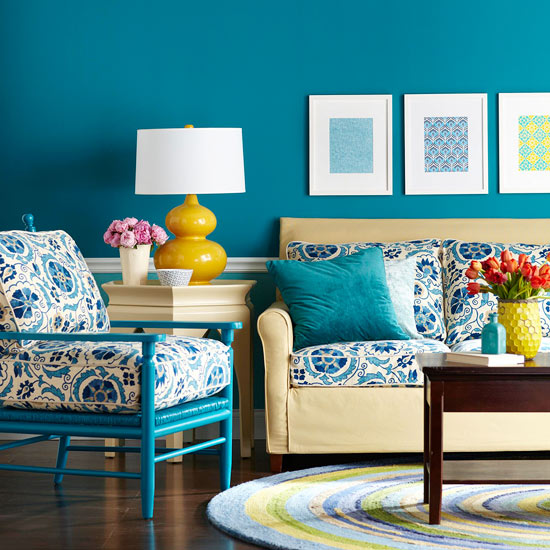 Living Room Color Scheme: Rich Blues