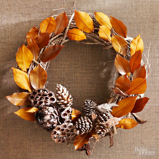 Leaves and Pinecones Fall Wreath
