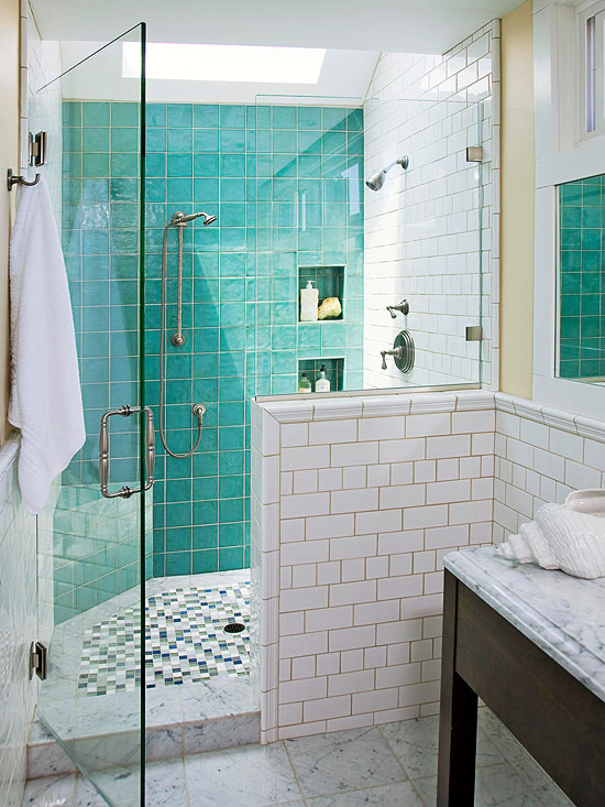 Luxury Blue Glass Shower Tiles  Transitional  Bathroom  Donna Elle
