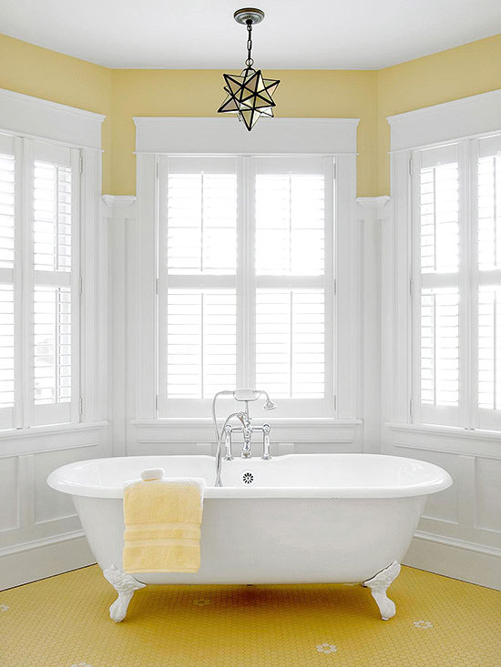 Yellow bathroom decorating design ideas for Bathroom decor color schemes