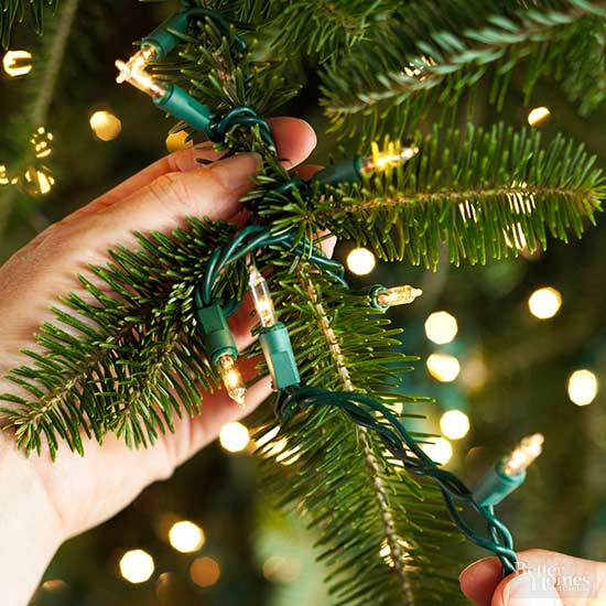 Do You String Christmas Tree Lights Top Bottom : How to Decorate a Christmas Tree from Better Homes & Gardens