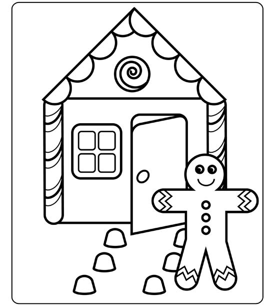 gingerbread house - House Coloring Pages Toddlers