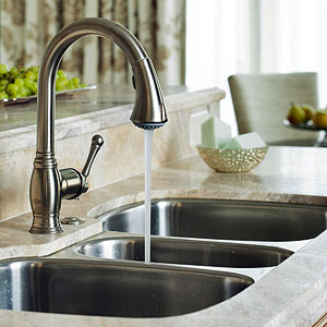 thoughtfully chosen faucets add pizzazz to hardworking kitchens in