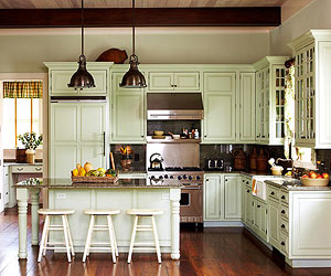 Charming Straddling The Line Between Showy And Muted, Green Kitchen Cabinets  Finished In Olive And Celery Tones Simultaneously Refresh And Relax A Work  Space.