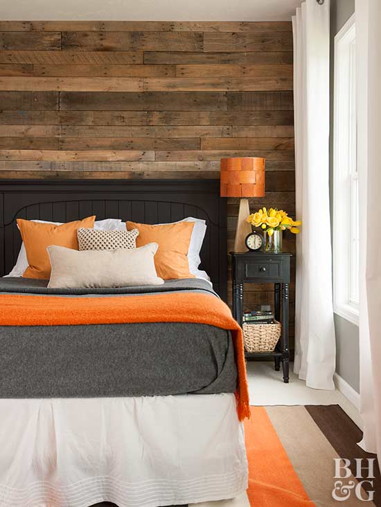 reclaimed wood orange decor