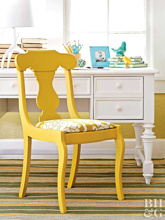 traditional yellow upholstered chair with white desk revamp your whole dining room - Reupholstered Dining Room Chairs