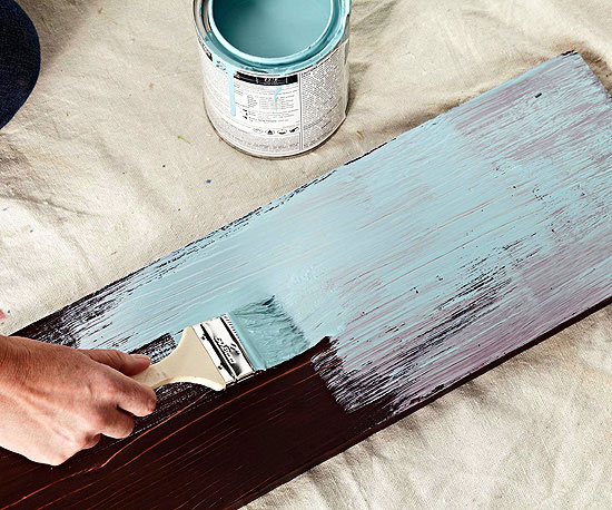 Using The Darker Shade Of Paint, Apply The First Coat Of Paint To The  Table. Spread The Paint Thin Enough To Allow Cracks To Show Through. Part 88