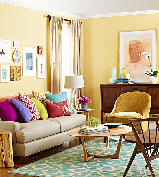 7 paint colors that flatter yellow wood tones bhg living rooms yellow
