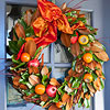 Persimmon-and-Pomegranate Leaf Wreath