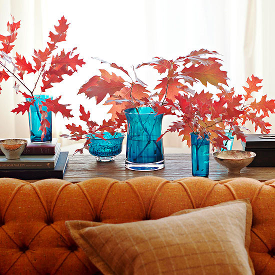 Red Leaves in Blue Vases