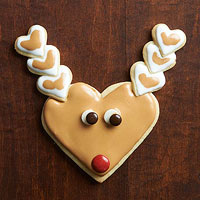 Heart-Shape Reindeer Sugar Cookies